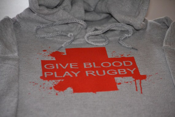 Rugby hoodie give blood play rugby funny size hooded sweatshirt sports fleece sweater boody cross funny clothing gift for husband boyfriend