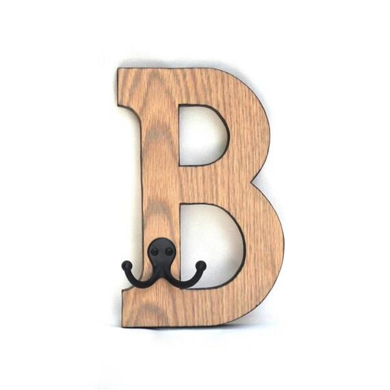 INITIAL COAT RACK / Hanger / Childrens Personalized / Wood Burned