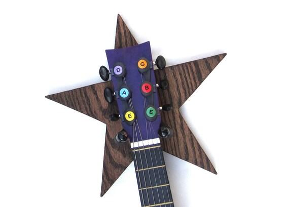 GUITAR HANGER / STAR / Wood Burned