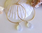 Gold plated hoop- moonstone teardrop bead
