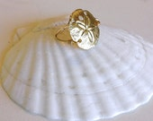 Gold plated sand dollar ring
