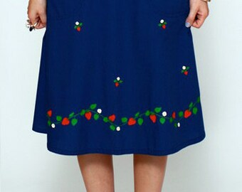 Vintage 60s 70s STRAWBERRY WRAP SKIRT