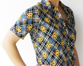 Vintage Azure and Lemon Floral Button-Up Blouse