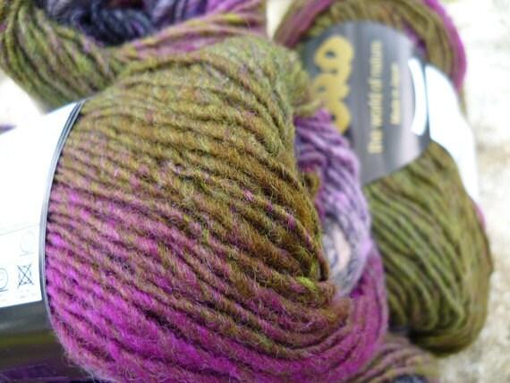 Noro Kureyon, color 188, moss, purple, navy, black, pink.