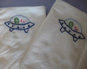 Made to Order-Hand Embroidered Blue Alien UFO Pillowcases