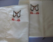 Made to Order-Hand Embroidered Brown Owls Pillowcases