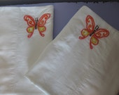 Made to Order-Hand Embroidered Orange Butterflies Pillowcases