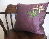 Hand Embroidered Jenny Hoffman Ivory & Green Flowered Throw Pillow