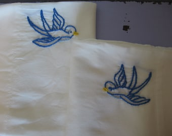 Made to Order-Hand Embroidered Blue Birds Pillowcases