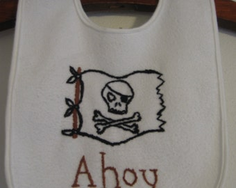 Made to Order-Hand Embroidered Pirate Baby Bib