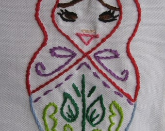 Made to Order-Hand Embroidered Matryoshka Tea Towel