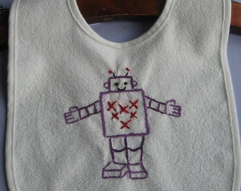 Made to Order-Hand Embroidered Robot Baby Bib