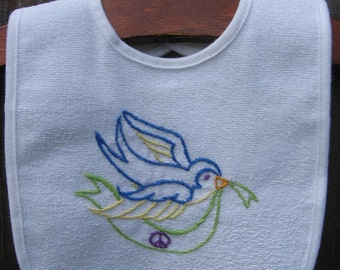 Made to Order-Hand Embroidered Blue Bird Baby Bib