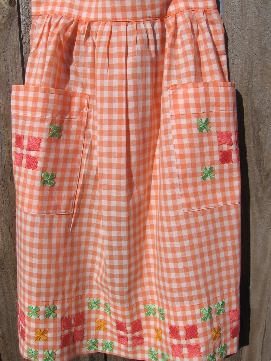 Reduced vintage orange gingham and embroidered apron