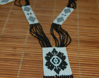 Black and White Beaded Tribal Necklace