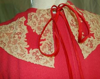 1950's Pink Front Tie Smock Houserobe