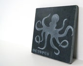 Octopus Coaster on Slate, Black and White Coaster, Nautical Slate Coaster
