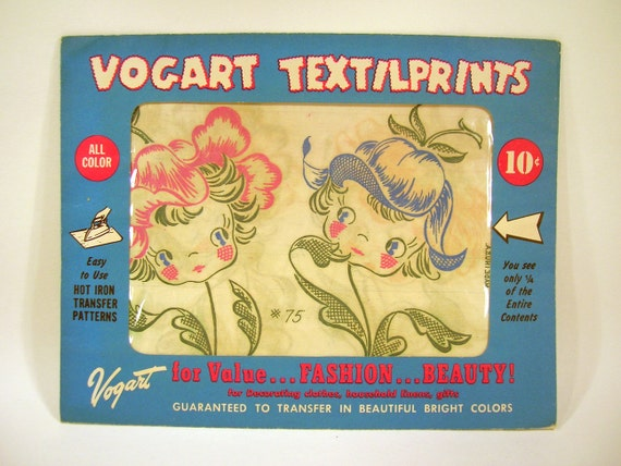 Vintage 1950's Vogart Textilprints Hot Iron Transfers 4 Packages Unused