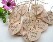25 Wooden Thank You Heart Tags - Charming Decor for Weddings, 1 3/4 inch 45 mm Weddings, Graduations, Showers, Favor Bags, Brides, Parties