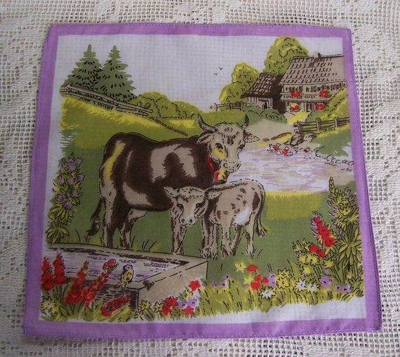 Vintage Childs Cow Hanky Nice Colors Mint Condition