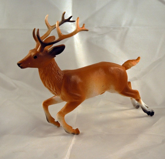 Vintage Large Celluloid Plastic RUNNING Buck Deer Figurine Mint Condition