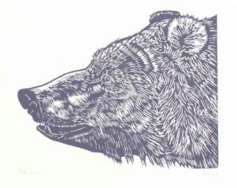Bear Linocut Print