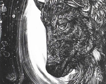 Goat Monotype and Linocut Original Print