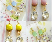 Pastels Romance Earrings. Rose Pink,  Blue, Mint Green Yellow Glass Stone. Vintage. Bridesmaids Earrings. Favors. Fall. Weddings. Delicate.