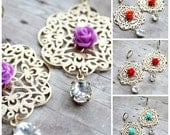 Beautiful India Earrings. Gold Lace Filigree. Floral Jewelry. Sparkle. Bohemian Wedding. Morrocan Style. Boho Chic. India Inspired.