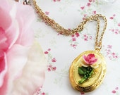 Romantic Flower Locket Necklace.   Vintage Inspired Gold Locket Necklace. Dainty Jewelry. Spring. Bridesmaids. Weddings. Delicate. Favors.
