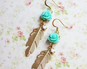 Gold Feather Earrings. Seafoam Rose Flower. free shipping, Nature-Inspired Jewelry. Bohemian Chic Wedding. feather earrings.