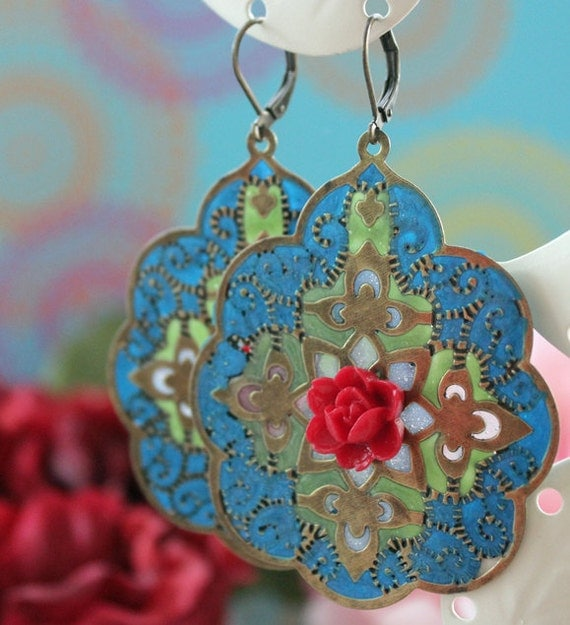 Mystic India Earrings.Blue, Green and Antique Bronze Lace Filigree, Red Rose.  Bohemian Chic. Gypsy Bohemian Earrings. Colorful.