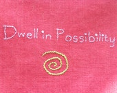 Dwell In Possibility Spiral Embroidery in Crimson, Lavender, Green Gift