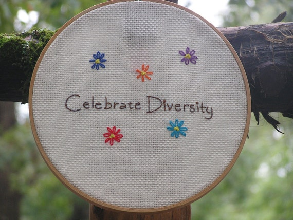 Celebrate Diversity Embroidery in Rainbow Colors