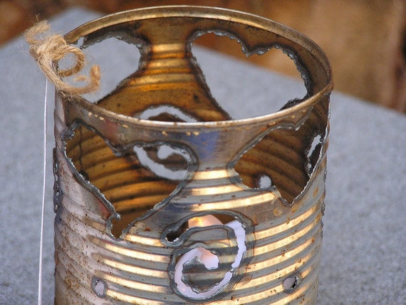 Reclaimed Metal Luminary -Hearts and Swirls-  gift under 20
