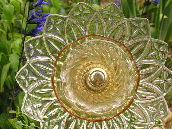 Vintage Glass Garden Flower- A Golden Day
