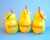 Wedding Cake Topper Pear Trio Live Laugh Love