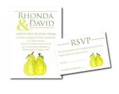 A Perfect Pear Watercolor Wedding Invitation Set