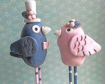 Navy and Cotton Pink Birds- wedding cake topper