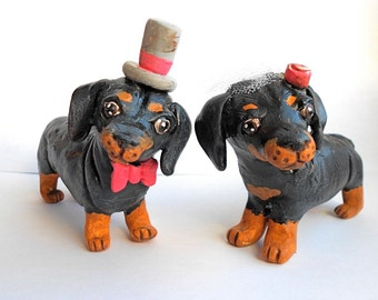 Custom Dog Bride and Groom wedding cake topper