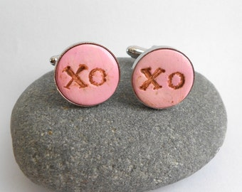 Hugs and Kisses X O Groom Wedding Cuff Links Any Color