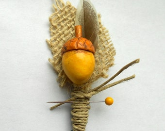 Rustic Groom or Groomsmen Boutonniere with Clay Acorn with Feather and Burlap Leaf