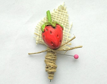Rustic Groom or Groomsmen Boutonniere with Red Strawberry and Burlap Leaf