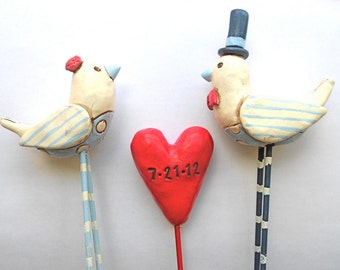 Red White and Blue Nautical Birds in Love Wedding cake topper Beach Wedding
