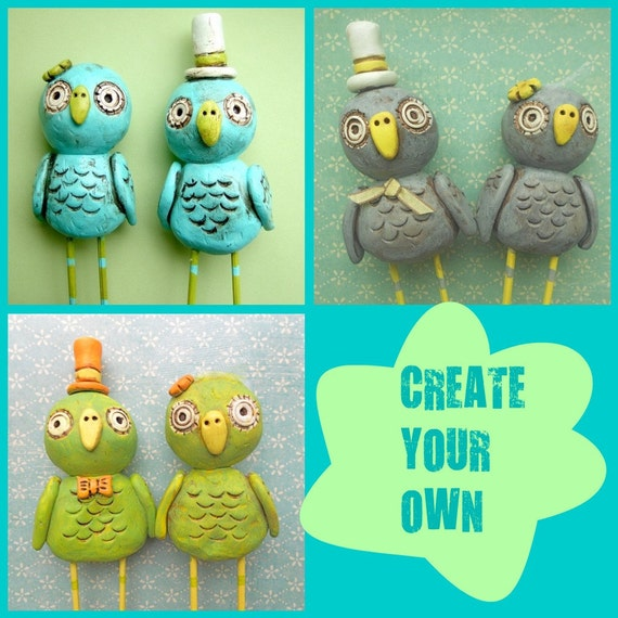 Cake Topper Design Your Own : Items similar to Create Your Own Owls wedding cake topper ...