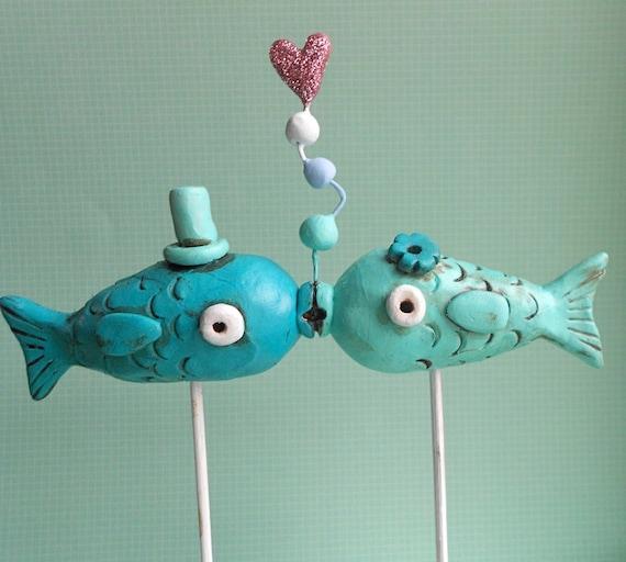 Kissing Fish Cake Topper