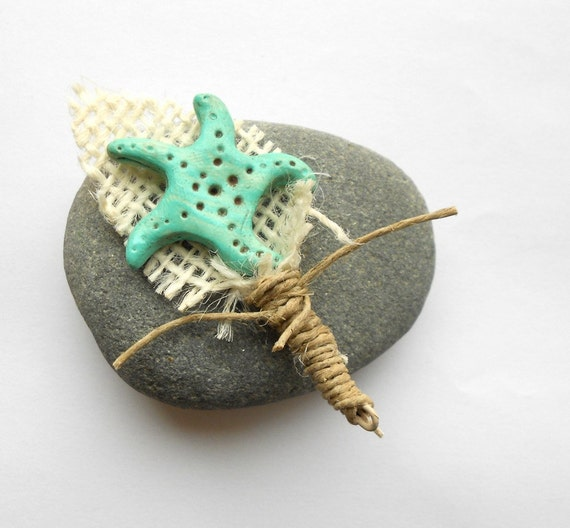 Rustic Groom or Groomsmen Boutonniere with Turquoise Starfish and Burlap Leaf