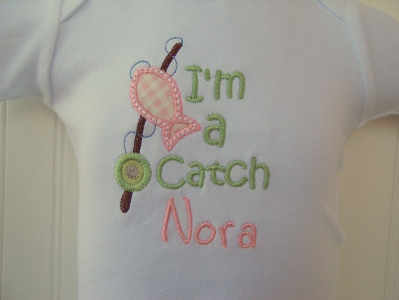 Personalized Baby Girl one piece (tm), bodysuit  or  T shirt Fishing, Fisherman, Daddy's fishing buddy