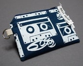 Zippered Pouch Small / Card Case / Change Purse / Phone Case / Card Holder / Pouch - Rogue Theory Screen-print -  Mix Tape Navy Blue