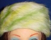 Cute White, Green, Yellow Fun Fur Pill Box Hat